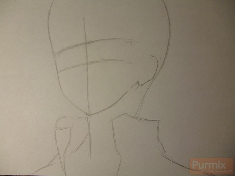 How to draw ?n?e from an anime the Illusive project with a simple pencil 2