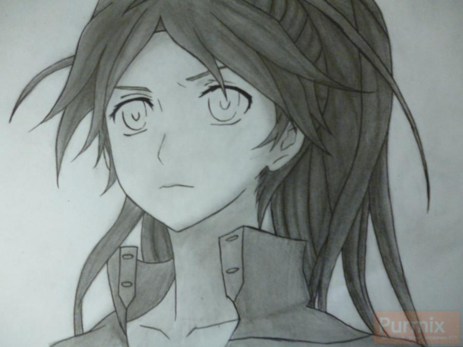 How to draw ?n?e from an anime the Illusive project with a simple pencil 12