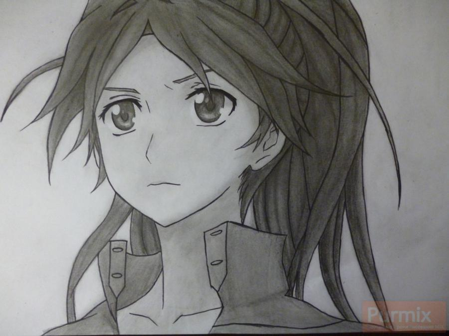 How to draw ?n?e from an anime the Illusive project with a simple pencil 13