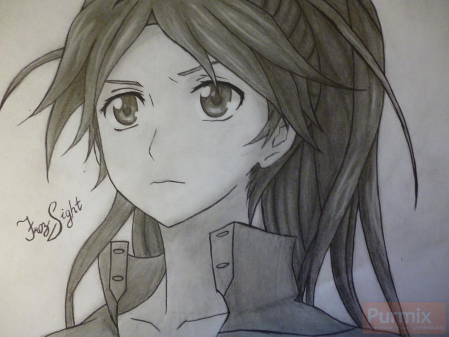 How to draw Ayase Sinomiya from an anime Corona of the sinner with a pencil