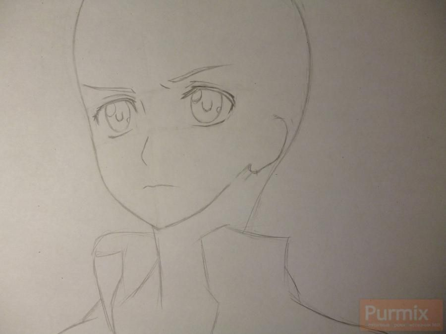 How to draw ?n?e from an anime the Illusive project with a simple pencil 3