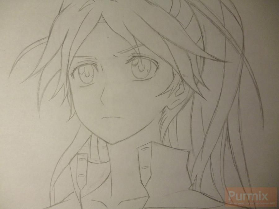 How to draw ?n?e from an anime the Illusive project with a simple pencil 4