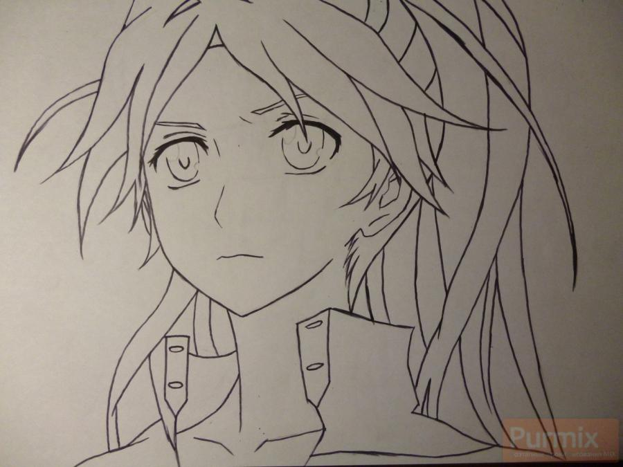 How to draw ?n?e from an anime the Illusive project with a simple pencil 5