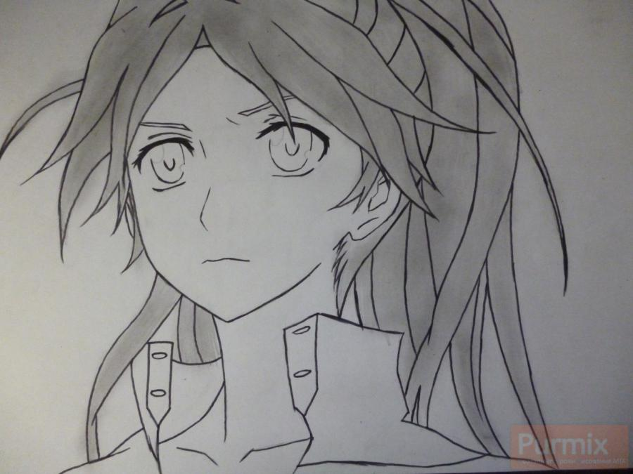 How to draw ?n?e from an anime the Illusive project with a simple pencil 6