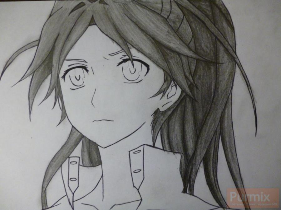 How to draw ?n?e from an anime the Illusive project with a simple pencil 7
