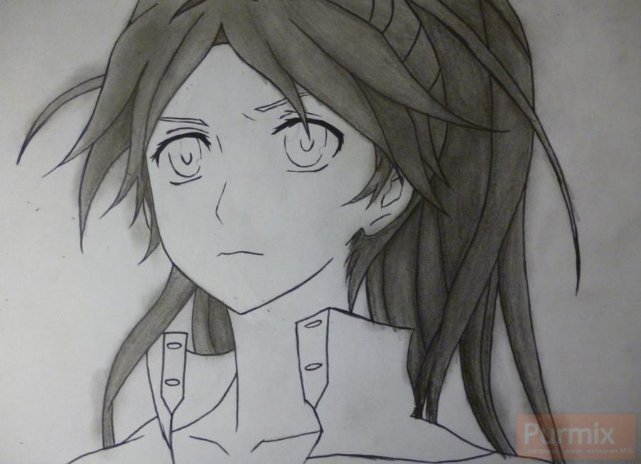 How to draw ?n?e from an anime the Illusive project with a simple pencil 8