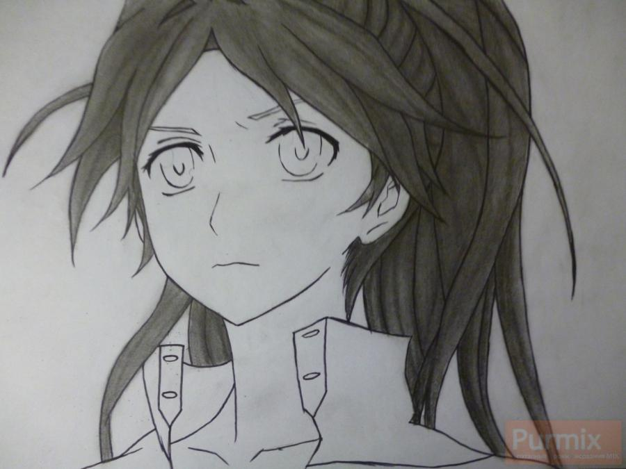 How to draw ?n?e from an anime the Illusive project with a simple pencil 9