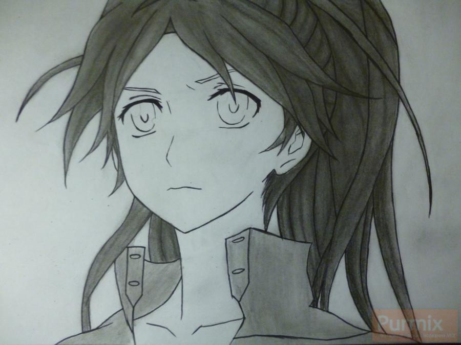 How to draw ?n?e from an anime the Illusive project with a simple pencil 10