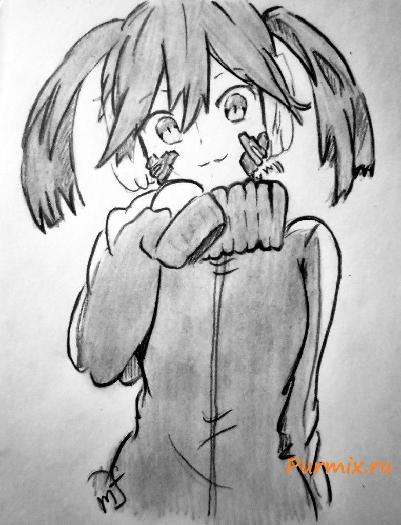 How to draw ?n?e from an anime the Illusive project with a simple pencil