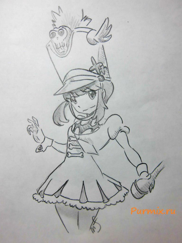 How to draw Nonon Dzyakudzure from an anime Kill or die a pencil