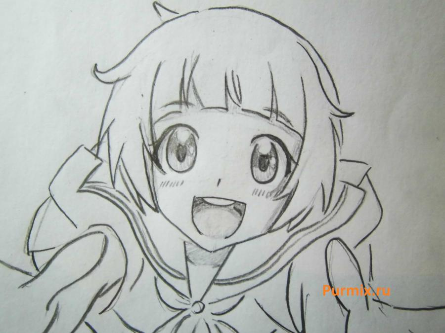 How to draw Midzuki from an anime It is very pleasant, God a pencil 5
