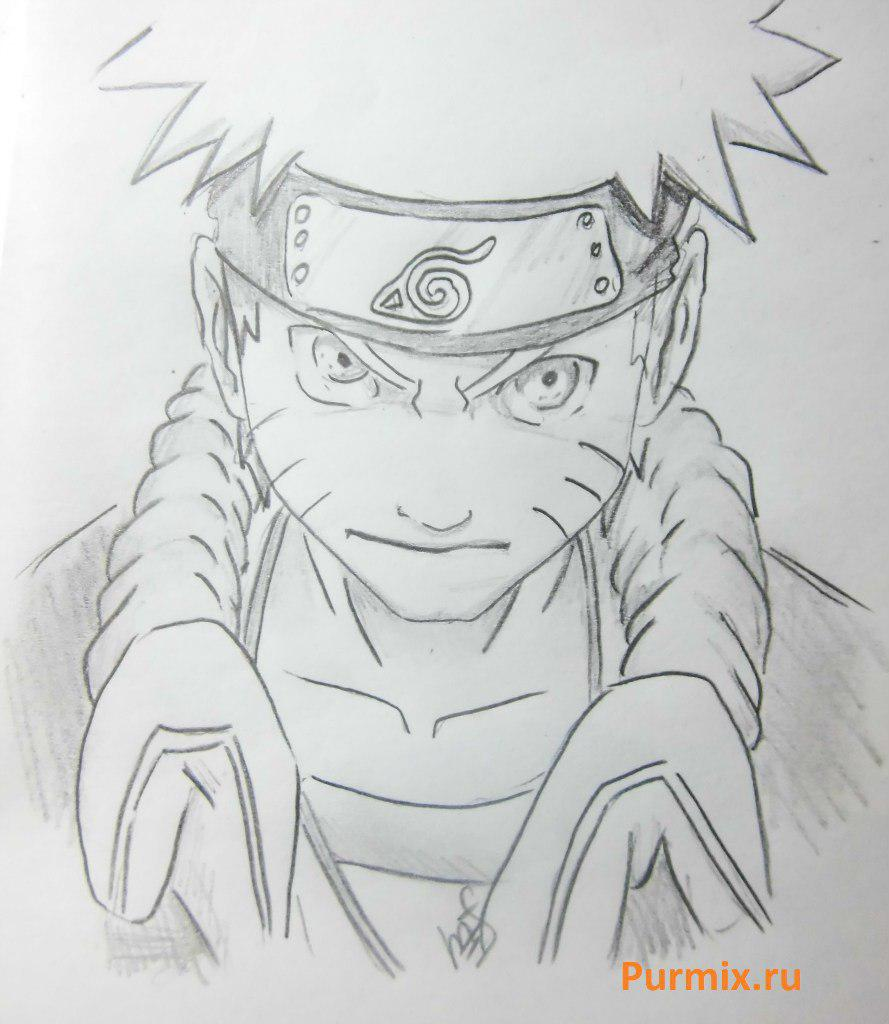 How to draw Naruto in rage with a simple pencil step by step
