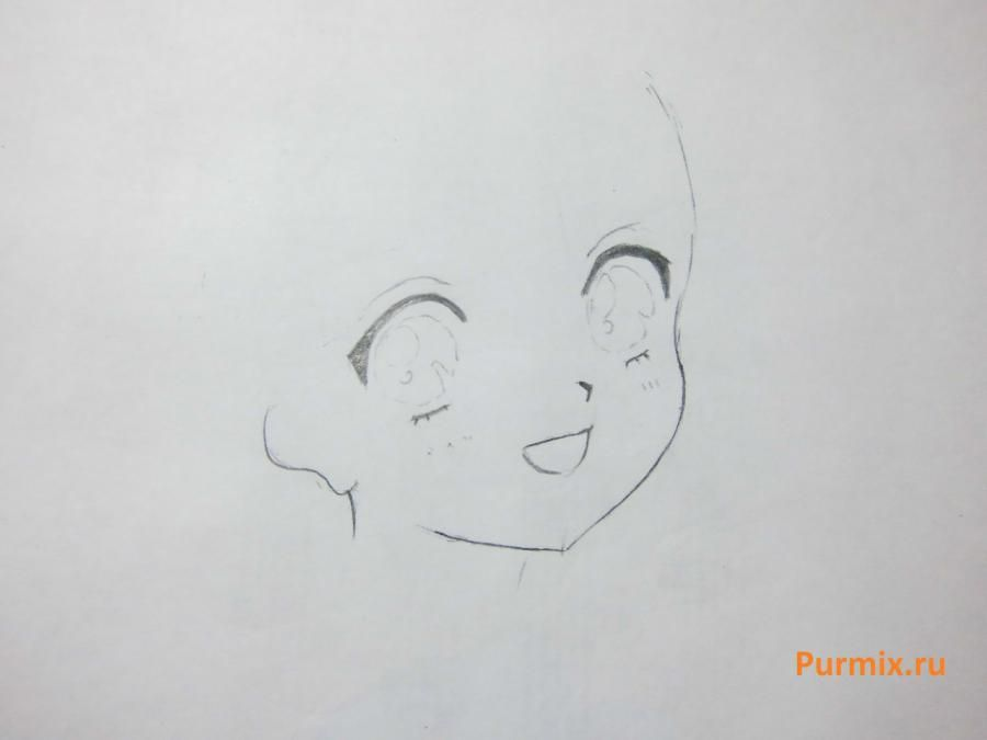 How to draw happy an anime the girl with a simple pencil 3