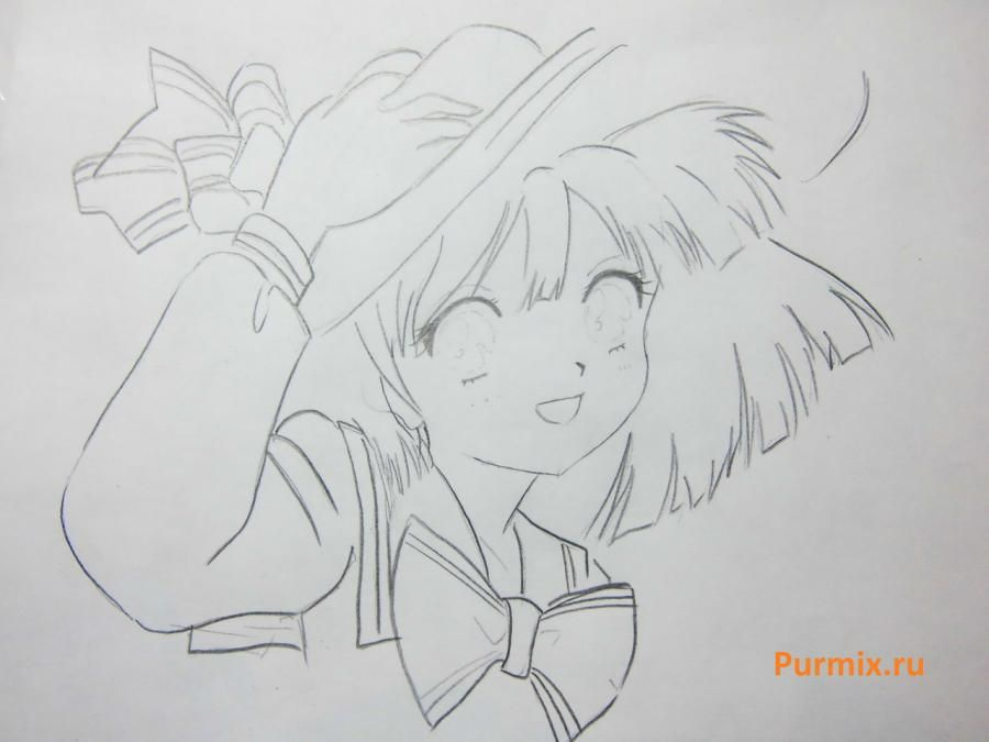 How to draw happy an anime the girl with a simple pencil 5