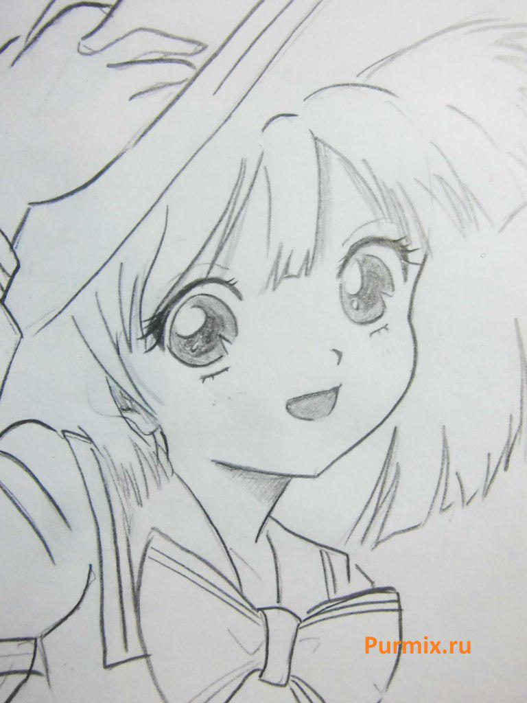 How to draw happy an anime the girl with a simple pencil 6