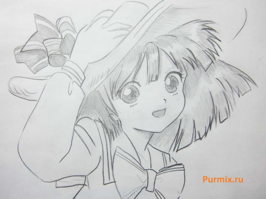 How to draw happy an anime the girl with a simple pencil 7