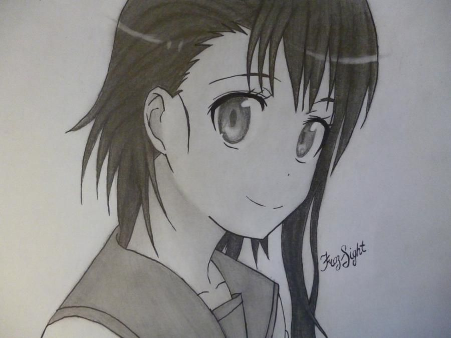 How to draw Kyoko Sakur from an anime the Magician Madoka Magika with a pencil 14