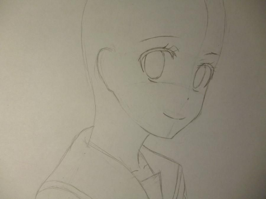 How to draw Kyoko Sakur from an anime the Magician Madoka Magika with a pencil 3