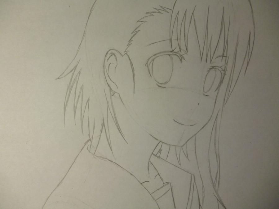 How to draw Kyoko Sakur from an anime the Magician Madoka Magika with a pencil 4