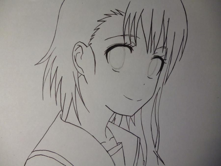 How to draw Kyoko Sakur from an anime the Magician Madoka Magika with a pencil 5