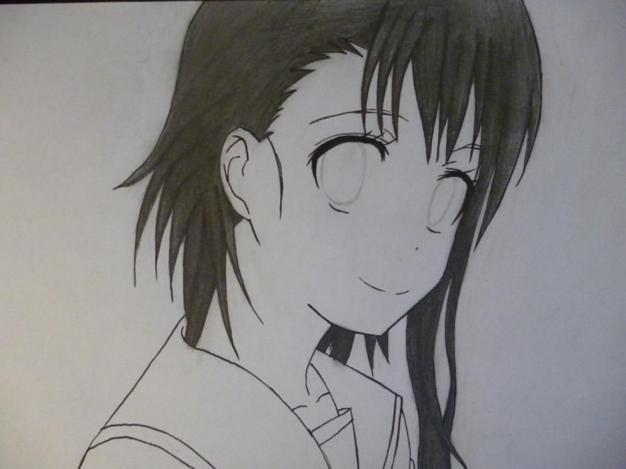 How to draw Kyoko Sakur from an anime the Magician Madoka Magika with a pencil 8