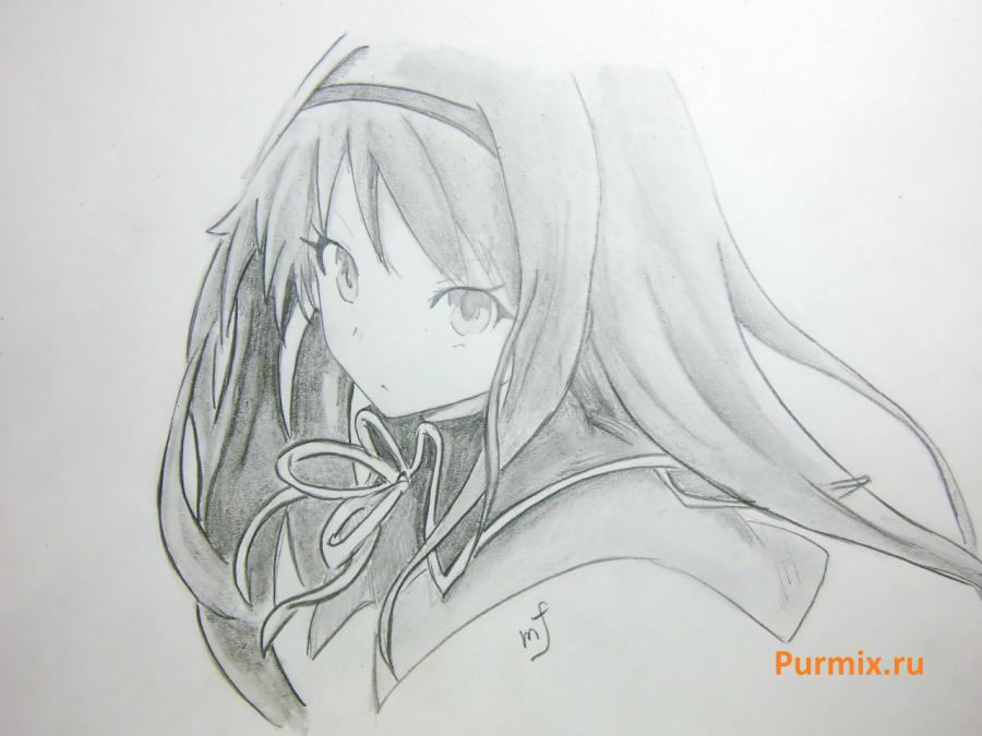 How to draw Homura Akemi from an anime the Magician Madoka Magika