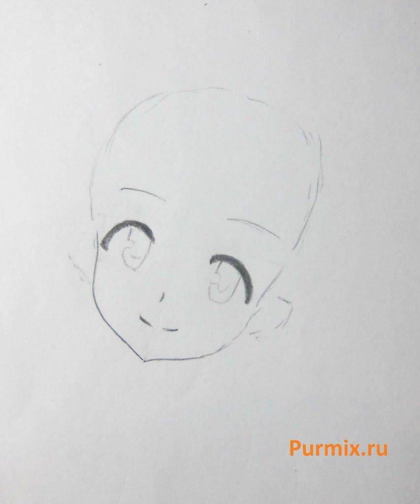 How to draw Akadzava Idzumi from an anime Other with a pencil step by step 3