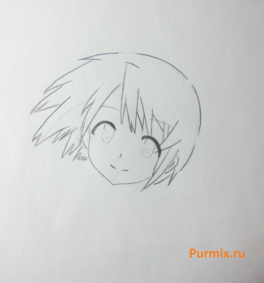 How to draw Akadzava Idzumi from an anime Other with a pencil step by step 4