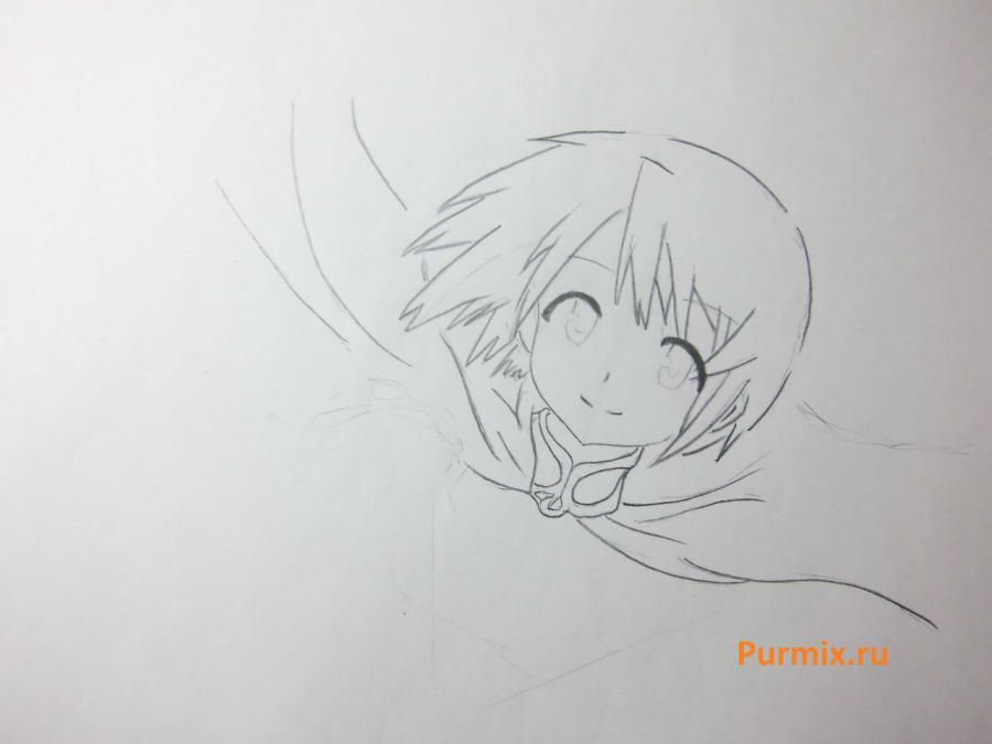 How to draw Akadzava Idzumi from an anime Other with a pencil step by step 5