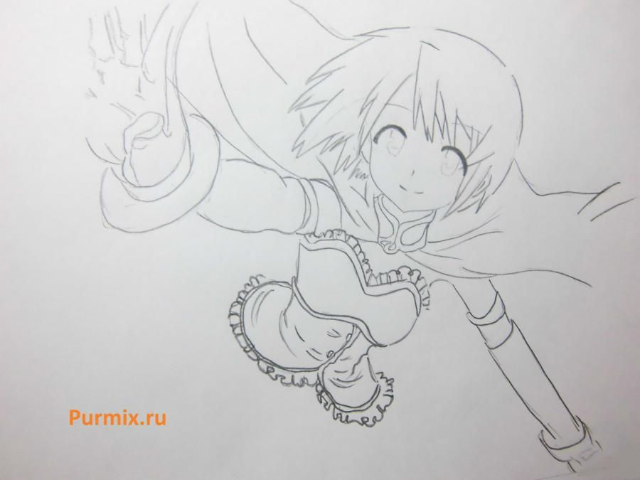 How to draw Akadzava Idzumi from an anime Other with a pencil step by step 6