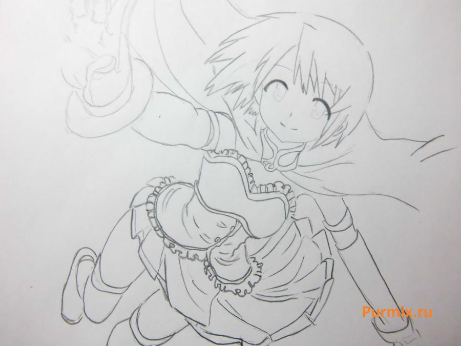 How to draw Akadzava Idzumi from an anime Other with a pencil step by step 7