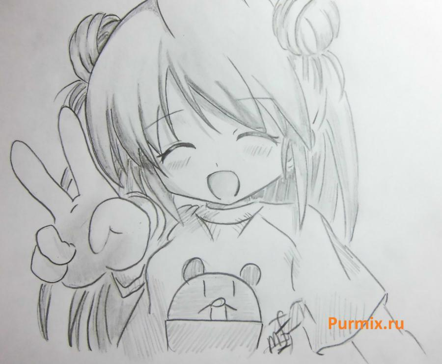 How to draw happy an anime the girl with a simple pencil