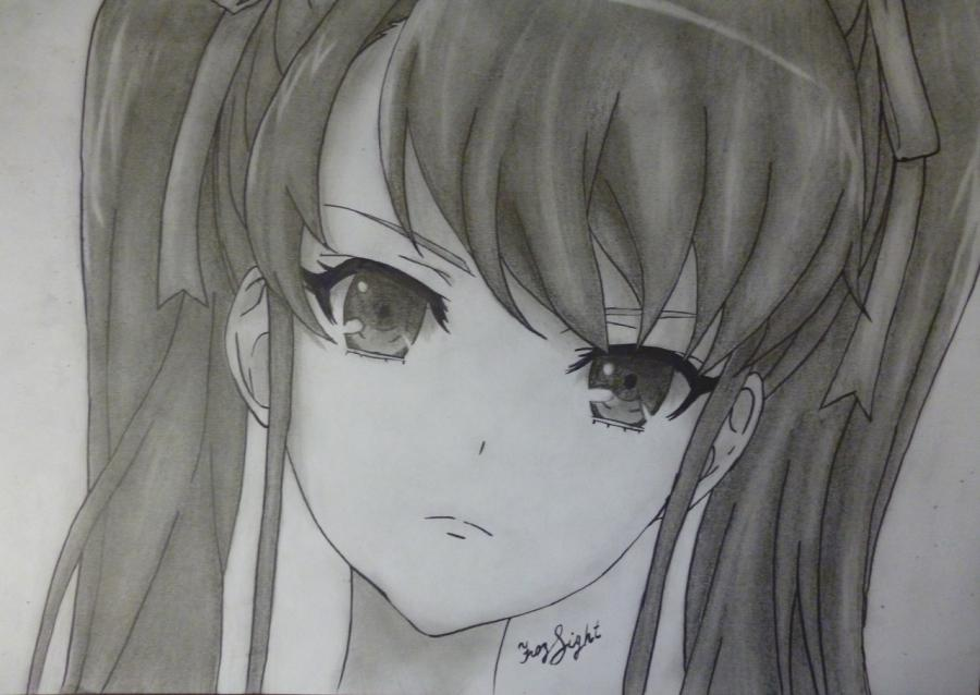 How to draw Akadzava Idzumi from an anime Other with a pencil step by step