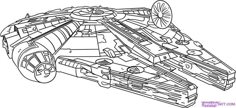 How to draw the spaceship from Star Wars with a pencil step by step