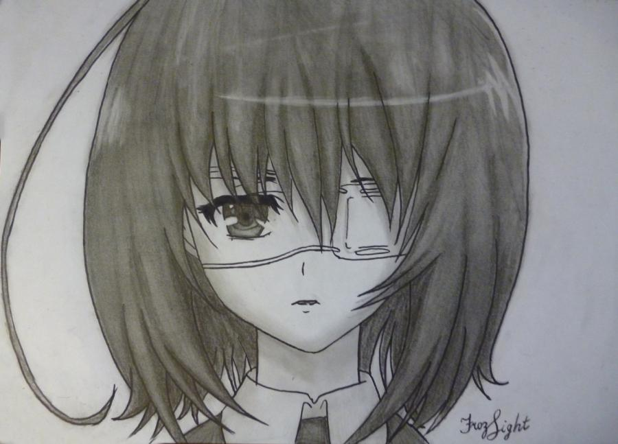 As to draw with a simple pencil Misaki Mai from an anime Other