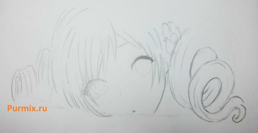 How to draw Sara from an anime the mermaid's Melody with a simple pencil 4