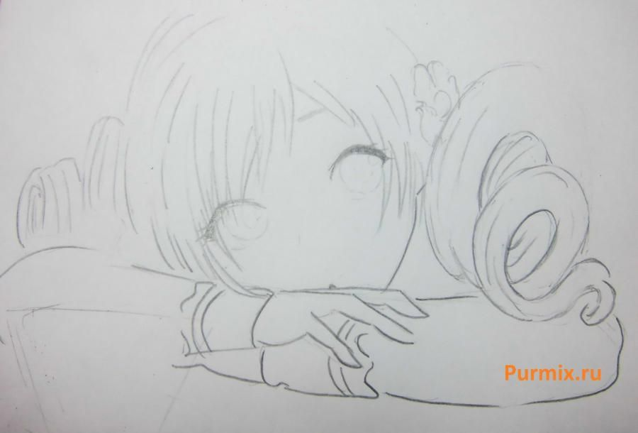 How to draw Sara from an anime the mermaid's Melody with a simple pencil 5