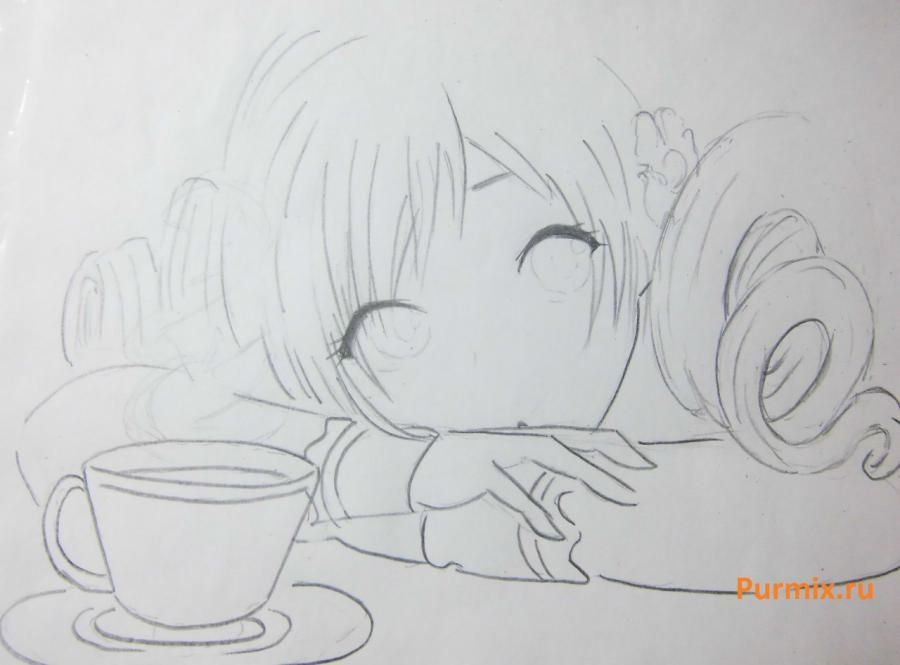 How to draw Sara from an anime the mermaid's Melody with a simple pencil 6