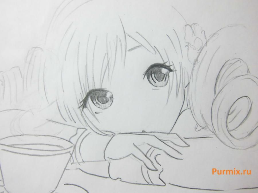 How to draw Sara from an anime the mermaid's Melody with a simple pencil 7