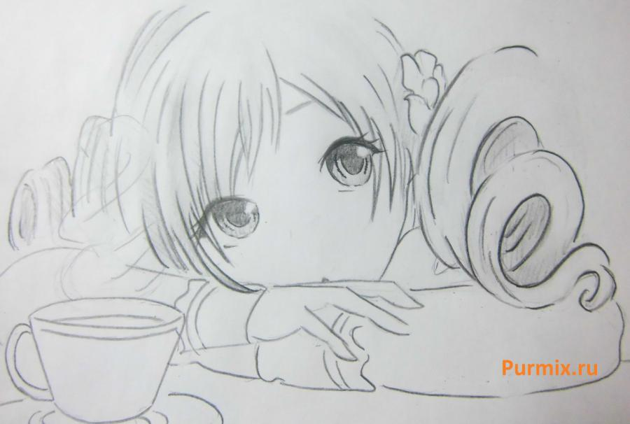 How to draw Sara from an anime the mermaid's Melody with a simple pencil 8