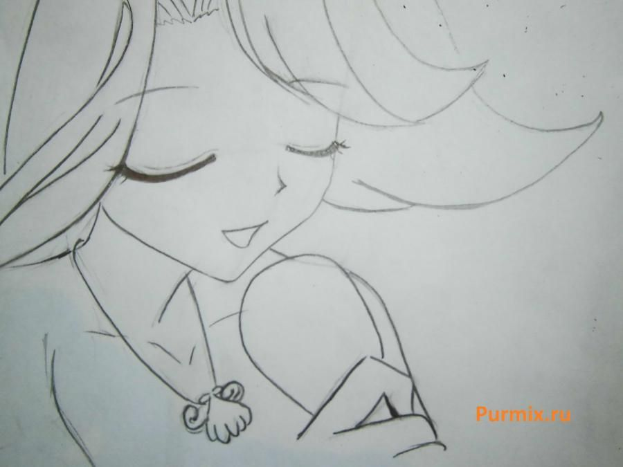 How to draw Lyuchiya from an anime the mermaid's Melody with a simple pencil 12