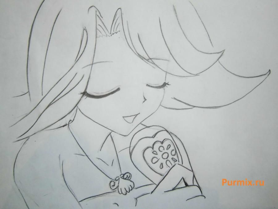 How to draw Lyuchiya from an anime the mermaid's Melody with a simple pencil 14