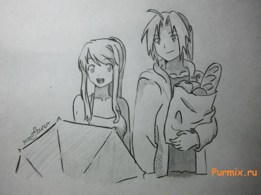 How to draw Lyuchiya from an anime the mermaid's Melody with a simple pencil 15