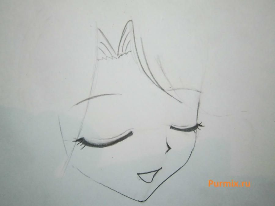 How to draw Lyuchiya from an anime the mermaid's Melody with a simple pencil 4