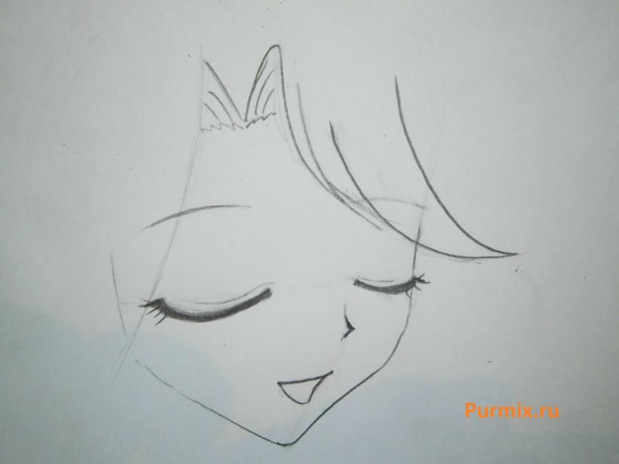 How to draw Lyuchiya from an anime the mermaid's Melody with a simple pencil 5
