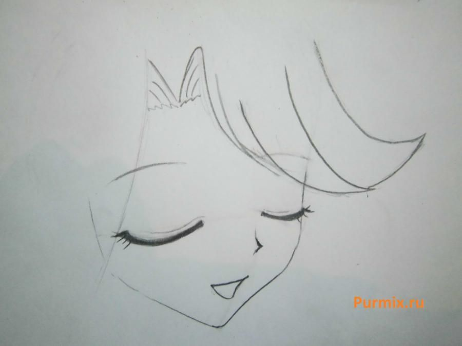 How to draw Lyuchiya from an anime the mermaid's Melody with a simple pencil 6