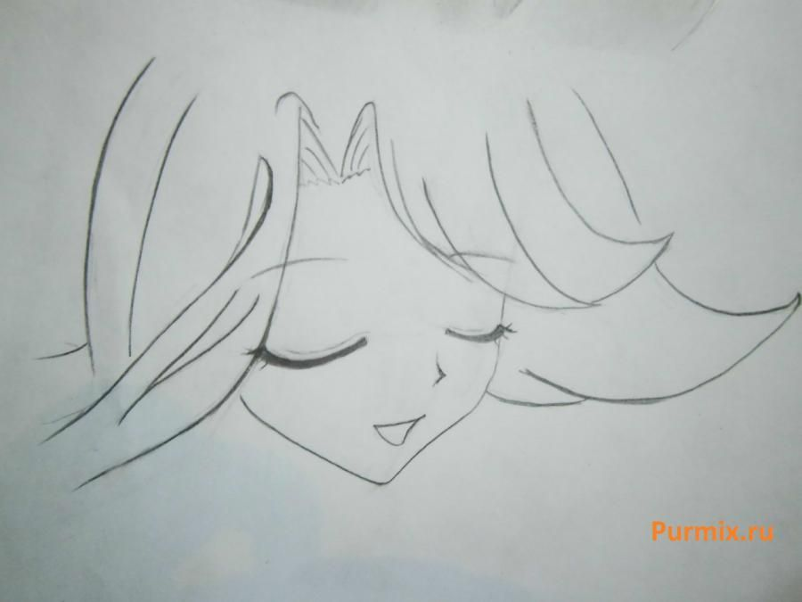 How to draw Lyuchiya from an anime the mermaid's Melody with a simple pencil 8