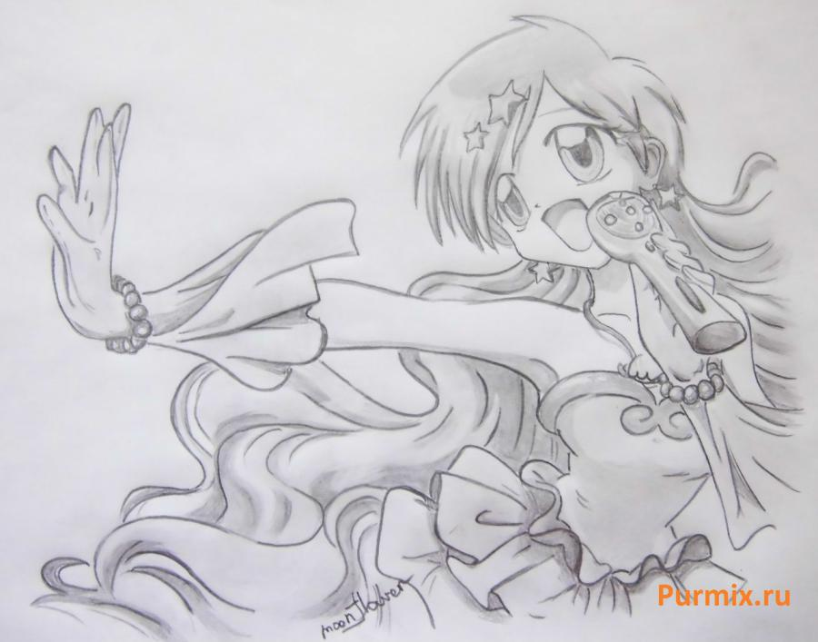 How to draw Hanon from an anime the mermaid's Melody with a simple pencil step by step