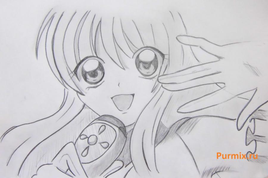 How to draw Lina from an anime the mermaid's Melody with a simple pencil step by step