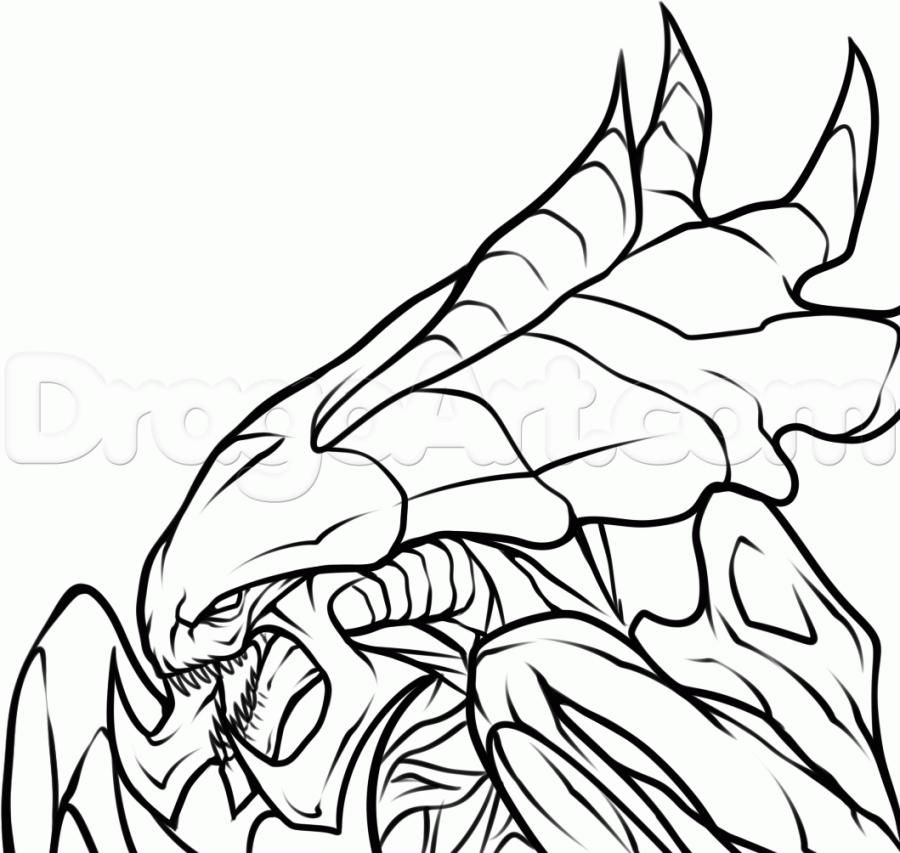 How to draw Gidralisk from the game StarCraft II with a pencil step by step